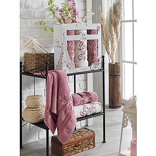 Комплект махровых полотенец TWO DOLPHINS ISABELLA (50*90*2; 70*140), брусничный