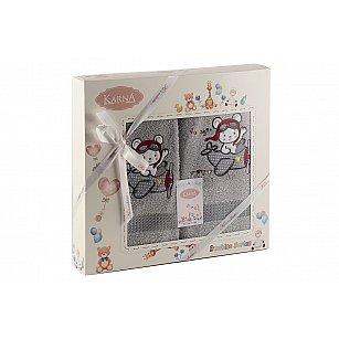 """Комплект полотенец """"KARNA BAMBINO-SAMALOT"""" (50*70; 70*120 см), серый"""
