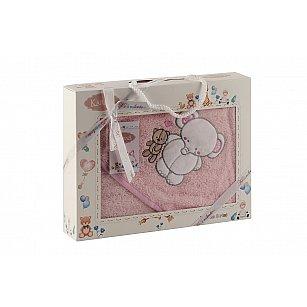 "Полотенце-конверт ""KARNA BAMBINO-SLON"", розовый, 90*90 см"
