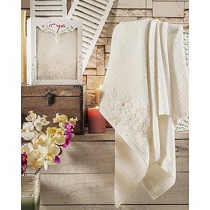 """Полотенце махровое в коробке """"IRYA GREAT Mолочный"""" с гипюром, 85*150 см"""