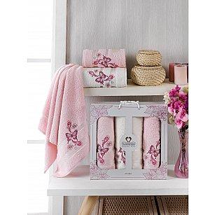 Комплект махровых полотенец Two Dolphins Almira (50*90*2; 70*140), светло-розовый
