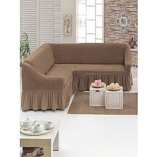 """Чехол на угловой диван универсальный """"DO&CO"""", серо-коричневый"""
