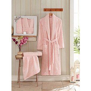 Набор из женского халата и полотенец Philippus Asiya, розовый, р. 52