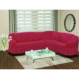"""Чехол на диван угловой правосторонний """"BULSAN"""" 2+3, грязно-розовый"""
