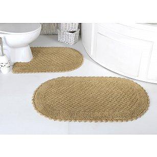 """Набор ковриков для ванной кружевной """"MODALIN PRIOR"""" (60*100; 50*70), бежевый"""