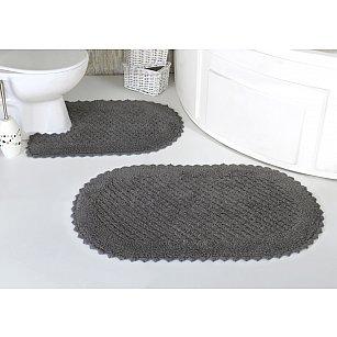 """Набор ковриков для ванной кружевной """"MODALIN PRIOR"""" (60*100; 50*70), темно-серый"""