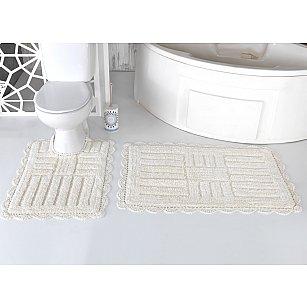 """Набор ковриков для ванной кружевной """"MODALIN ANCOR"""" (60*100; 50*70), кремовый"""