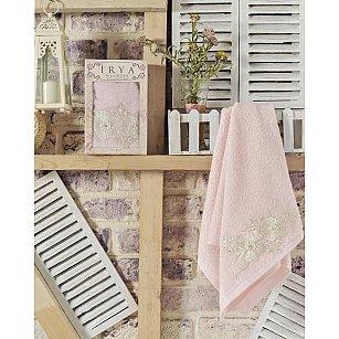 "Полотенце махровое в коробке ""IRYA FLEUR"" с французским гипюром, розовый"