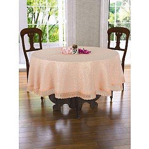 Скатерть с гипюром Do&Co, персиковая, 160 см