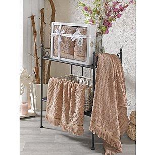 Комплект махровых полотенец с бахромой PHILIPPUS WENDY (50*90; 70*140), коричневый