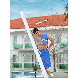 Набор для сауны махровый мужской с тапочками PHILIPPUS, светло-синий