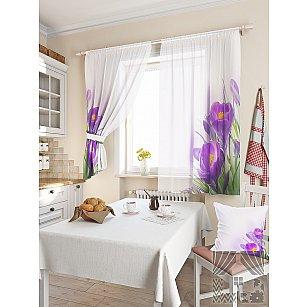 """Фотошторы для кухни """"Доме"""", белый, фиолетовый, 180 см"""