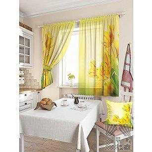 """Фотошторы для кухни """"Тис"""", желтый, 180 см"""