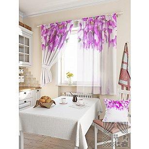 """Фотошторы для кухни """"Орихи"""", белый, розовый, 180 см"""