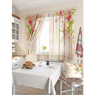 """Фотошторы для кухни """"Лили"""", розовый, 180 см"""