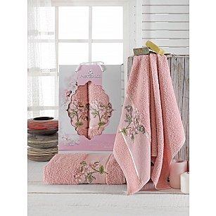 Комплект махровых полотенец Merzuka Sakura Garden (50*80; 70*130), брусничный