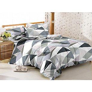 КПБ мако-сатин печатный Crystal (1.5 спальный), серый