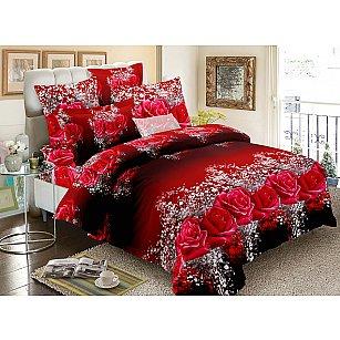 КПБ мако-сатин печатный Romance (1.5 спальный), бордовый
