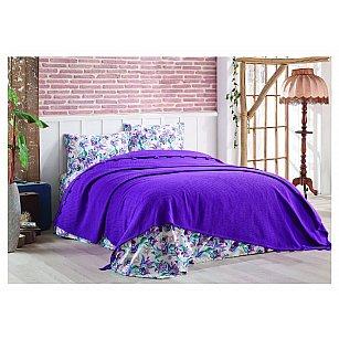 Покрывало DO&CO с простыней и наволочками Larita, фиолетовый, 230*240 см