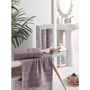 Комплект махровых полотенец TWO DOLPHINS ZENIT (50*90; 70*140), баклажан