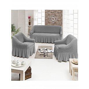 Набор чехлов для дивана и кресел JUANNA 3+1+1, светло-серый