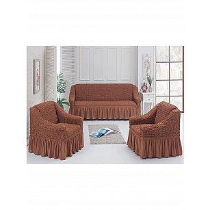 Набор чехлов для дивана и кресел JUANNA 3+1+1, коричневый