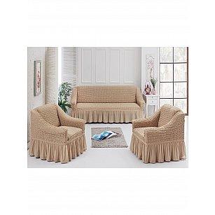 Набор чехлов для дивана и кресел JUANNA 3+1+1, песочный