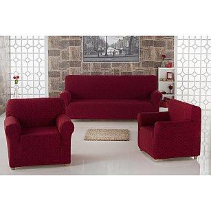 "Набор чехлов для дивана ""KARNA MILANO"" 3+1+1, бордовый"
