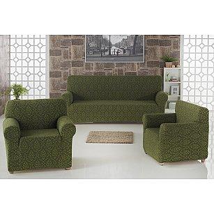 "Набор чехлов для дивана ""KARNA MILANO"" 3+1+1, зеленый"