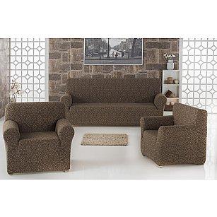 "Набор чехлов для дивана ""KARNA MILANO"" 3+1+1, коричневый"