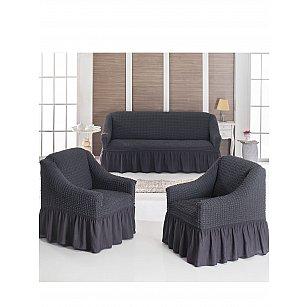 """Набор чехлов для дивана и кресел """"DO&CO"""" 3+1+1, антрацит"""