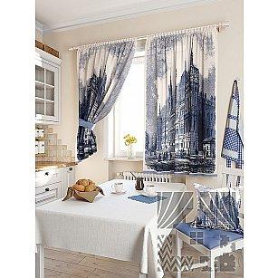 """Фотошторы для кухни """"Лозия"""", синий, 180 см"""
