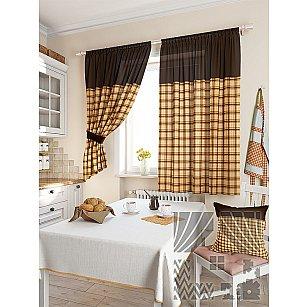 """Комплект штор """"Агапан"""", коричневый, 180 см"""