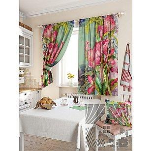 """Фотошторы для кухни """"Ранис"""", розовый, зеленый, 180 см"""