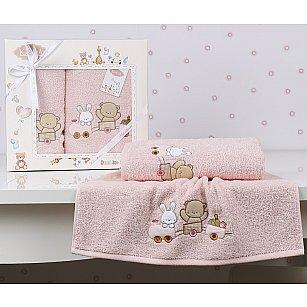 """Комплект полотенец детский """"KARNA BAMBINO-TRAIN"""" (50*70; 70*120), розовый"""