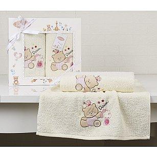 """Комплект полотенец детский """"KARNA BAMBINO-BEAR"""" (50*70; 70*120), молочный"""