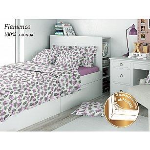 КПБ поплин детский eco cotton combo с трикотажной простыней Flamenco (1.5 спальный), розовый