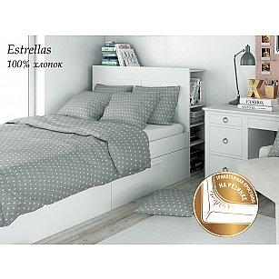 КПБ поплин детский eco cotton combo с трикотажной простыней Estrellas (1.5 спальный), серый