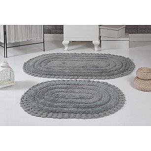 """Набор ковриков для ванной кружевной """"MODALIN YANA"""" (60*100; 50*70), серый"""