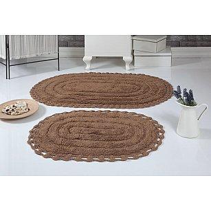 """Набор ковриков для ванной кружевной """"MODALIN YANA"""" (60*100; 50*70), горчичный"""