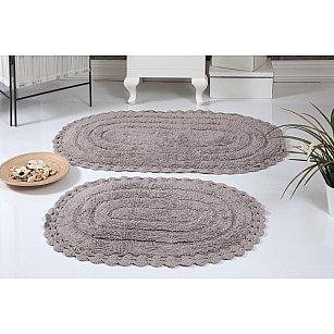 """Набор ковриков для ванной кружевной """"MODALIN YANA"""" (60*100; 50*70), мокко"""