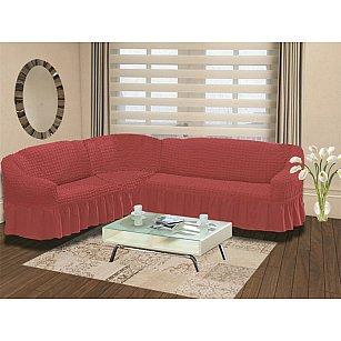 """Чехол на диван угловой левосторонний """"BULSAN"""" 2+3, грязно-розовый"""
