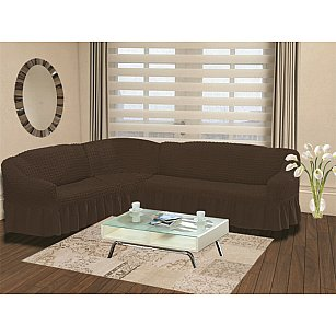 """Чехол на диван угловой левосторонний """"BULSAN"""" 2+3, коричневый"""