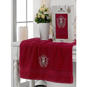 Полотенце махровое в коробке Merzuka Boss, бордовый, 50*80 см