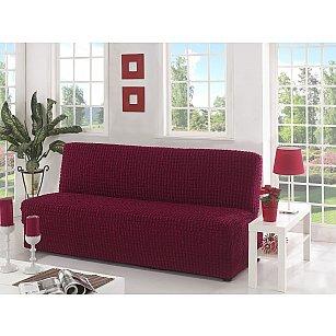 """Чехол для дивана """"KARNA"""" трехместный без подлокотников, без юбки, бордовый"""
