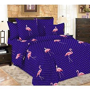 КПБ мако-сатин печатный Flamingo, темно-синий, розовый
