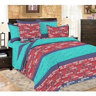 КПБ мако-сатин печатный Voyage (2 спальный), бирюзовый, фиолетовый, красный