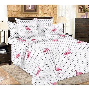 КПБ мако-сатин печатный Flamingo (Евро), белый, розовый