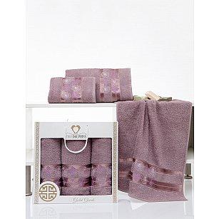 Комплект махровых полотенец TWO DOLPHINS GOLD GREEK (50*90*2; 70*140), баклажан