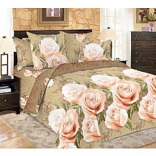 КПБ мако-сатин печатный Fete (2 спальный), бежевый, розовый